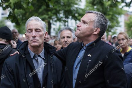 Us Ambassador to Denmark Rufus Gifford (r) and His Husband Steven Devincent During a Vigil For the Victims of a Mass Shooting in Orlando Usa on 12 June in Front of the Us Embassy in Copenhagen Denmark 13 June 2016 a Total of 50 People Inculding the Suspect Were Killed and 53 Were Injured in a Shooting Attack at an Lgbt Club in Orlando Florida in the Early Hours of 12 June the Shooter was Killed in an Exchange of Fire with the Police After Taking Hostages at the Club Denmark Copenhagen