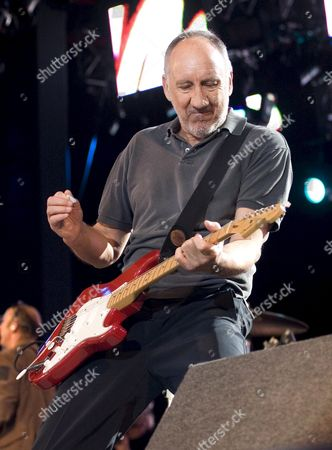 Guitarist Pete Townshend of the British Pop Band the who Roger Daltry Performs at the Roskilde Festival Denmark 07 July 2007 Denmark Roskilde