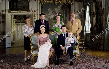 Picture Made Available on 03 July 2007 Shows Crown Princess Mary (front-l) with Princess Isabella Crown Prince Frederik (front-r) with Prince Christian and (second Row L-r) Grandparents Susan E Donaldson Crown Princess Mary's Stepmother Professor John Donaldson Crown Princess Mary's Father Queen Margrethe and Prince Consort Henrik Posing For Photographers at Fredensborg Palace North of Copenhagen Denmark 01 July 2007 After the Christening of Princess Isabella Henrietta Ingrid Margrethe Denmark Fredensborg