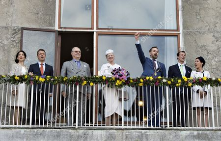 Members of the Danish Royal Family (l-r) Princess Marie Prince Joachim Prince Consort Henrik Queen Margrethe Aarhus Mayor Jacob Bundsgaard Crown Prince Frederik and Crown Princess Mary Stand on the Balcony of the City Hall in Aaarhus Denmark 08 April 2015 As a Prelude to the Celebration of Queen Margrethe's 75th Birthday on 16 April Denmark Aarhus