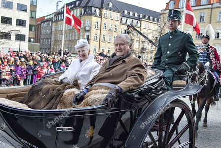 Danish Queen Margrethe (l) and Prince Consort Henrik Drive in a Carriage Through Aarhus Denmark 08 April 2015 As a Prelude to the Celebration of Her 75th Birthday on 16 April Denmark Aarhus