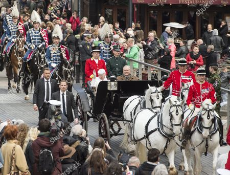 Danish Queen Margrethe (c-l) and Prince Consort Henrik Drive in a Carriage Through Aarhus Denmark 08 April 2015 As a Prelude to the Celebration of Her 75th Birthday on 16 April Denmark Aarhus