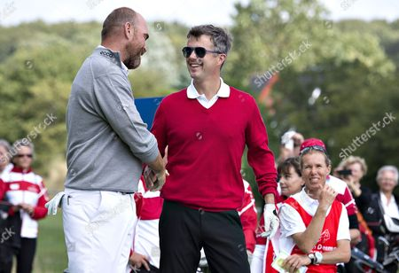 Danish Crown Prince Frederik (r) Chats with Danish Golfer Thomas Bjorn (l) As He Visits Himmerlands Golf and Spa During the European Tour 'Made in Denmark 2014' in Himmerland Denmark 13 August 2014 Prince Frederik Played a Round with Thomas Bjorn Tom Kristensen and Owner Lars Larsen Denmark Himmerland