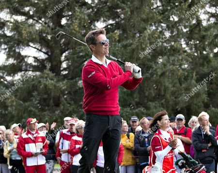 Danish Crown Prince Frederik Hits a Shot As He Visits Himmerlands Golf and Spa During the European Tour 'Made in Denmark 2014' in Himmerland Denmark 13 August 2014 Prince Frederik Played a Round with Thomas Bjorn Tom Kristensen and Owner Lars Larsen Denmark out Denmark Himmerland