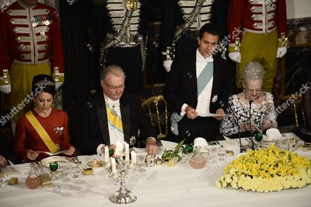 (l-r) Danish Crown Princess Mary Danish Prince Consort Henrik Mexico's President Enrique Pena Nieto and Danish Queen Margrethe Attend a Gala Dinner at Fredensborg Palace in Fredensborg Island of Zealand Denmark 13 April 2016 the Mexican President is on an Official Visit to Denmark From 13 to 14 April Denmark Fredensborg