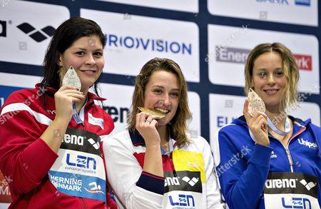Lotte Friis Den (l) Wins Silver Mareia Belmonte Esp Wins Gold (c) and Federica Pellegrini Ita Bronze (r) in the 400 M Freestyle During the Len European Short Course Swimming Championship in Herning Denmark 14 December 2013 Denmark Herning