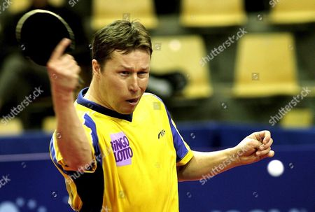 Sweden's Jan Ove Waldner in Action Against Aleksandar Karakasevic of Serbia & Montenegro in Their Match During the Tabletennis European Championships in Athletion in Aarhus Sunday 27 March 2005 Denmark Aarhus