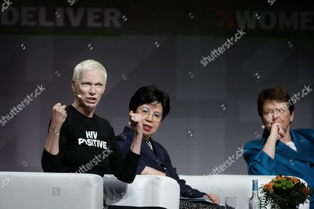 Scottish Singer Songwriter Annie Lennox Director General of the World Health Organization Margaret Chan and Norwegian Politician and Former Prime Minister Gro Harlem Brundtland Attending the Opening of the 4th Women Deliver Conference in Copenhagen Denmark 16 May 2016 Women Deliver Conference the Worlds Largest Global Conference on the Health Rights and Wellbeing of Girls and Women Takes Place From 16-19 May 2016 Denmark Copenhagen