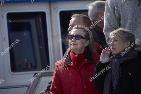 Us Secretary of State Hillary Clinton (l) and Danish Minister of Foreign Affairs Lene Espersen (r) Enjoys a Boat Trip on Godhaabs Inlet During the Arctic Council Ministerial Meeting in Nuuk Greenland 12 May 2011 Greenland Nuuk