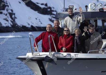 (l-r) Prime Minister of Faroe Islands Kai Leo Johannesen Swedens Minister For Foreign Affairs Car Bildt Us Secretary of State Hillary Clinton Norways Minister For Foreign Affairs Jonas Gahr Store Denmarks Minister For Foreign Affairs Lene Espersen Finlands Minister For Foreign Affairs Jaakko Laajva on a Boattrip in the Godthaabs Inlet During the Arctic Council Ministerial Meeting in Nuuk Greenland 12 May 2011 Greenland Nuuk