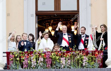 Stock Image of Crown Prince Haakon and Crown Princess Mette-Marit and Prince Sverre Magnus and Marius Borg Hoiby   Princess Martha Louise and Maud Angelica and Leah Isadora and Emma Tallulah