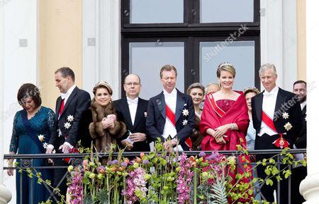 King Philippe and Queen Mathilde   Prince Albert II   Grand Duke Henri of Luxembourg and Grand Duchess Maria Teresa of Luxembourg   Hereditary Grand Duke Guillaume of Luxembourg and Grand Duchess Stephanie of Luxembourg