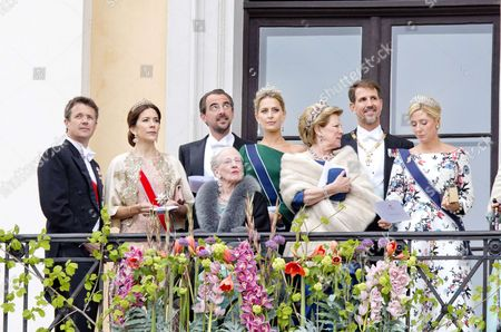Queen Anne-Marie   Queen Margrethe II   Crown Princess Mary and Crown Prince Frederik   Crown Prince Pavlos and Crown Princess Marie-Chantal   Prince Nikolaos and Princess Tatiana
