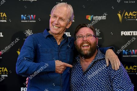 Stock Image of Australian Comedian and Actor Paul Hogan (l) Poses For a Photograph with Fellow Comedian Shane Jacobson After Being Announced As the Recipient of the Longford Lyell Award Ahead of the Aacta Awards in Sydney Australia 06 December 2016 the Australian Academy of Cinema and Television Arts Awards Will Take Place Tomorrow in Sydney Australia Sydney