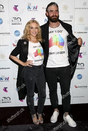 A Picture Made Available on 24 November 2016 Shows Australian Singer Kylie Minogue (l) with Her Fiance British Actor Joshua Sasse Posing For Photographers at the 30th Aria Awards at the Star in Sydney New South Wales Australia 23 November 2016 the Couple Showed Off Marriage Equality Campaign Shirts Australia Sydney