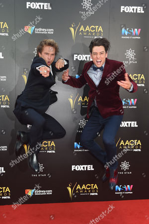 Australian Actor Lincoln Lewis (l) and Singer Taylor Henderson (r) Pose on Arriving on the Red Carpet at the Australian Academy of Cinema and Television Arts Awards (aacta) at the the Darling in Sydney Australia 07 December 2016 Australia Sydney