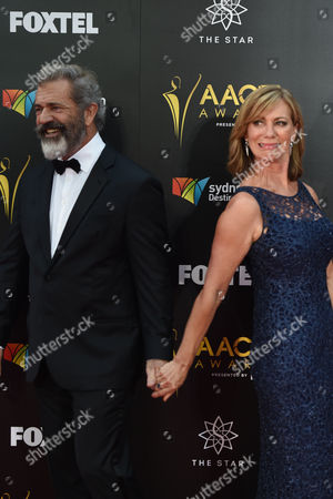 Stock Picture of American Actor Mel Gibson (l) and Australian Actor Kerry Armstrong Arrive (r) on the Red Carpet For the Australian Academy of Cinema and Television Arts Awards (aacta) at the the Darling in Sydney Australia 07 December 2016 Australia Sydney