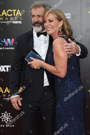 Stock Photo of American Actor Mel Gibson (l) and Australian Actor Kerry Armstrong Arrive (r) on the Red Carpet For the Australian Academy of Cinema and Television Arts Awards (aacta) at the the Darling in Sydney Australia 07 December 2016 Australia Sydney