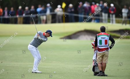 Matteo Manassero of Italy (l) in Action During Round One of the World Cup of Golf at Kingston Heath Golf Club in Melbourne Victoria Australia 24 November 2016 the Tournament Runs From 24 to 27 November Australia Melbourne