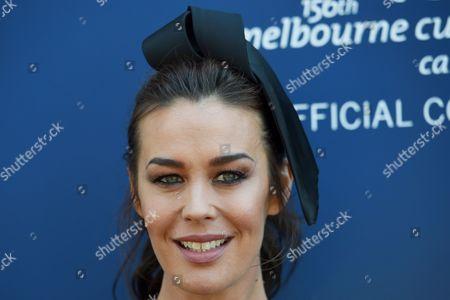Australian Model Megan Gale Arrives to Attend the Aami Victoria Derby Day Horse Racing at Flemington Racecourse in Melbourne Victoria Australia 29 October 2016 Australia Melbourne