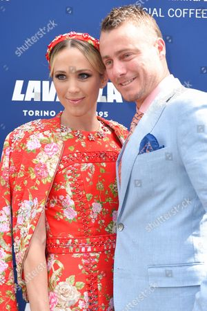 Stock Image of Australian Former World No 1 Tennis Player Lleyton Hewitt (r) and His Wife Bec Hewitt in the Birdcage on Melbourne Cup Day at Flemington Racecourse in Melbourne Victoria Australia 01 November 2016 Australia Melbourne