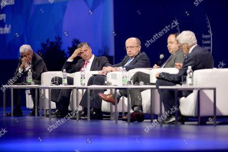 Stock Photo of Mikulas Dzurinda (L) Jan Fischer, Andrius Kubilius, Konrad Szymanski and Jerzy Buzek