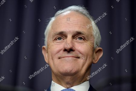 Stock Image of Australian Prime Minister Malcolm Turnbull Speaks to the Media During a Press Conference at Parliament House in Canberra Australia 27 October 2015 Newly Appointed Chief Scientist Dr Alan Finkel Will Replace Current Chief Scientist Professor Ian Chubb Whose Appointment Finishes at the End of the Year