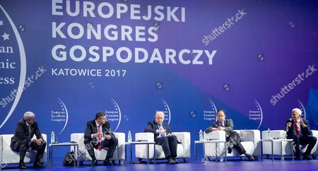 (L-R) Former Prime Minister of Slovakia Mikulas Dzurinda, former Prime Minister of the Czech Republic Jan Fischer, former Prime Minister of Lithuania Andrius Kubilius, Secretary of State for Foreign Affairs of Poland Konrad Szymanski and former Prime Minister of Poland and former President of the European Parliament professor Jerzy Buzek, during the 9th European Economic Congress inauguration in Katowice, Poland, 10 May 2017. The three-day congress will be used to discuss economic challenges for Poland and Europe.