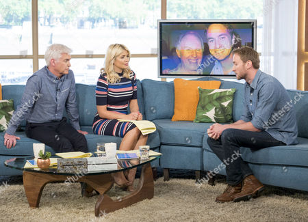 Phillip Schofield and Holly Willoughby with Oliver Chris