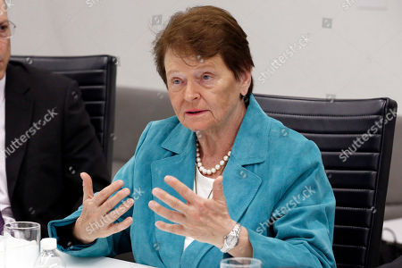 Former Prime Minister of Norway Gro Harlem Brundtland speaks during a meeting at Associated Press headquarters, in New York