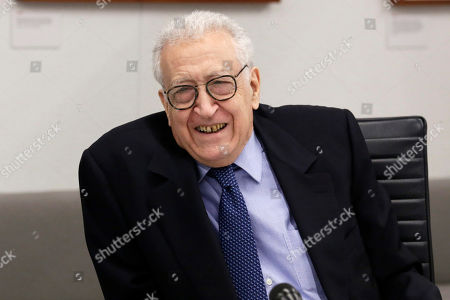 Stock Picture of Former Joint Arab League-UN Special Representative for Syria Lakhdar Brahimi speaks during a meeting at Associated Press headquarters, in New York