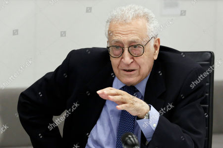 Stock Photo of Former Joint Arab League-UN Special Representative for Syria Lakhdar Brahimi speaks during a meeting at Associated Press headquarters, in New York