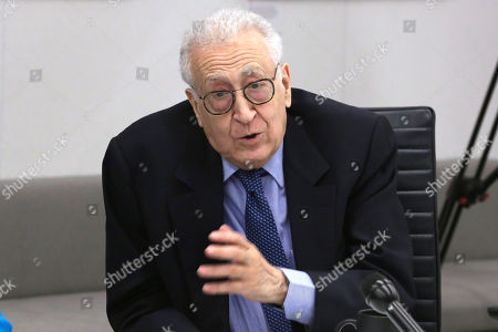 Stock Image of Former Joint Arab League-UN Special Representative for Syria Lakhdar Brahimi speaks during a meeting at Associated Press headquarters, in New York
