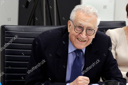 Former Joint Arab League-UN Special Representative for Syria Lakhdar Brahimi speaks during a meeting at Associated Press headquarters, in New York