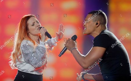 """Valentina Monetta & Jimmie Wilson from San Marino performs the song """"Spirit Of The Night"""" during rehearsals for the Eurovision Song Contest, in Kiev, Ukraine, . The final of The Eurovision Song Contest 2017 will be held on May 13"""