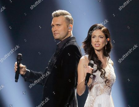 Koit Toome & Laura from Estonia perform the song 'Verona' during rehearsals for the Eurovision Song Contest, in Kiev, Ukraine, . The final of The Eurovision Song Contest 2017 will be held on May 13