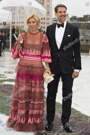 Duke of Sparta (Crown Prince Pavlos) and Princess Marie-Chantal of Greece arrive for the dinner during celebrations marking the 80th birthdays of Norwegian King Harald and Queen Sofia at the Operahouse in Oslo, Norway, 10 May 2017. Harald V of Norway turned 80 on 21 February 2017 and Queen Sonja of Norway will turn 80 on 04 July 2017.