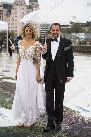 Prince Nikolaos and Princess Tatiana of Greece arrive for the dinner during celebrations marking the 80th birthdays of Norwegian King Harald and Queen Sofia at the Operahouse in Oslo, Norway, 10 May 2017. Harald V of Norway turned 80 on 21 February 2017 and Queen Sonja of Norway will turn 80 on 04 July 2017.