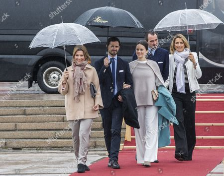 Stock Picture of (L-R) Norwegian Princess Maertha Louise, Prince Carl Philip of Sweden, Princess Sofia of Sweden, Prince Nikolaos and Princess Tatiana of  Greece and Denmark arrive at Honnorbrygga prior their departure to the royal yacht HNoMY Norge at the Oslo Fjord, where royal guests had lunch during joint celebrations marking the 80th birthdays of Norwegian King Harald and Queen Sofia in Oslo, Norway, 10 May 2017. Harald V of Norway turned 80 on 21 February 2017 and Queen Sonja of Norway will turn 80 on 04 July 2017.