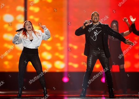 Valentina Monetta and Jimmie Wilson from San Marino perform the song 'Spirit of the Night' during rehearsals for the Second Semi-Final of the 62nd annual Eurovision Song Contest (ESC) at the International Exhibition Centre in Kiev, Ukraine, 10 May 2017. The ESC 2017 Grand Final is held on 13 May.