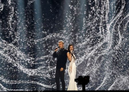 """Koit Toome & Laura from Estonia perform the song """"Verona"""" during rehearsals for the Eurovision Song Contest, in Kiev, Ukraine, . The final of The Eurovision Song Contest 2017 will be held on May 13"""