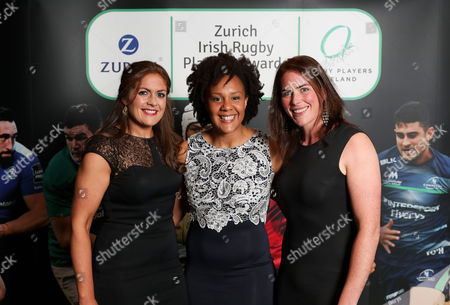 Stock Photo of 2017 Zurich Rugby Players Ireland Player's Awards, Clayton Hotel, Ballsbridge, Dublin 10/5/2017. Fiona Coughlan, Sophie Spence and Nora Stapleton