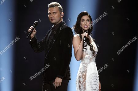 Koit Toome and Laura of Estonia perform their song Verona during the second semifinal dress rehearsal of The Eurovision Song Contest