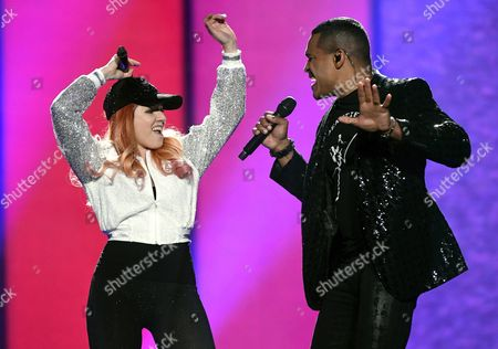Valentina Monetta and Jimmie Wilson of San Marino perform their song Spirit of the Night during the second semifinal dress rehearsal of The Eurovision Song Contest