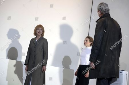 German actors Corinna Harfouch (L), as Phaedra, Bernd Stempel (R), as Theseus, and Kathleen Morgeneyer (C) as Oenone, perform during the final rehearsal of the play 'Phaedra' at the Deutsches Theater in Berlin, Germany, 10 May 2017. Phaedra, a dramatic tragedy in five acts written by Jean Racine and first performed in 1677, premieres on 12 May 2017.