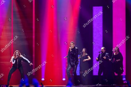 """Valentina Monetta and Jimmie Wilson of San Marino perform their song """"Spirit of the Night"""" at the dress rehearsal for the second semi final show of the Eurovision Song Contest 2017"""
