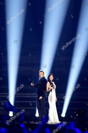 """Koit Toome and Laura of Estonia perform their song """"Verona"""" at the dress rehearsal for the second semi final show of the Eurovision Song Contest 2017"""