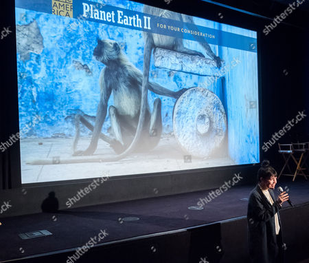 BBC America President Sarah Barnett introduces the BBC America Planet Earth II Emmy FYC screening at the Crosby Street Hotel, in New York