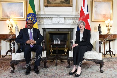 Stock Picture of Theresa May and Hailemariam Desalegn Boshe
