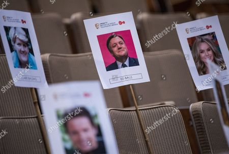 Stock Picture of Photos of Claire Balding, Ed Balls and Amanda Holden in the seating plan for Sunday's Virgin TV British Academy Television Awards at Royal Festival Hall. BBC One 8pm.